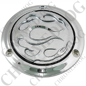 3 Hole Derby Cover - Chrome With Chrome Flames