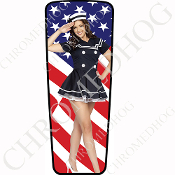 08-15 Ultra & Electra Glide Dash Insert - Pin Up Navy Flag