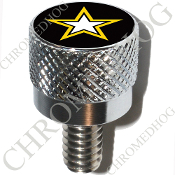 Harley Custom Seat Bolt - S KN Chrome Billet - US Army Star B